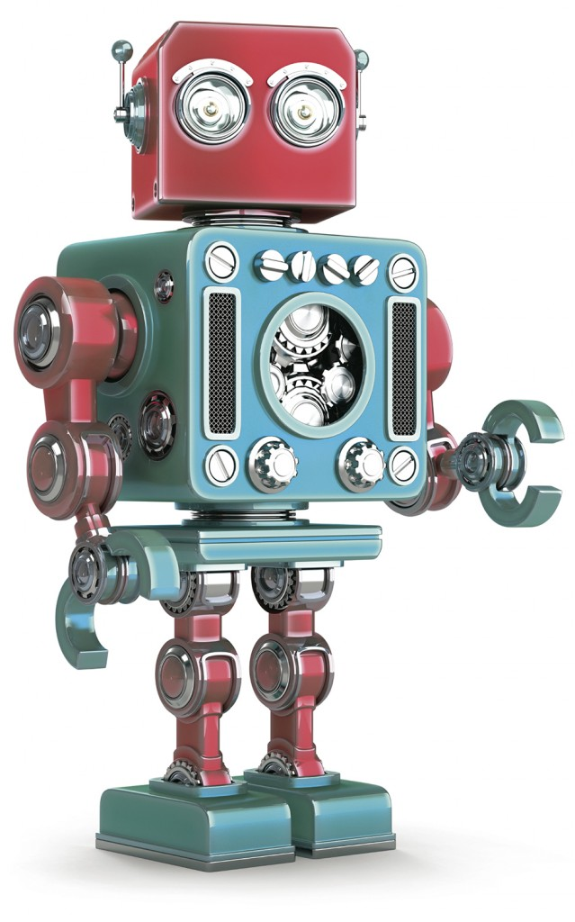 Standing Retro Robot. Isolated. Contains clipping path